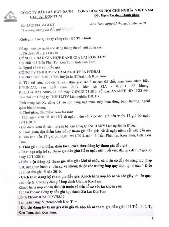 Ngày 22/11/2018, đấu giá xe ô tô Huyndai tại tỉnh Kon Tum - ảnh 1