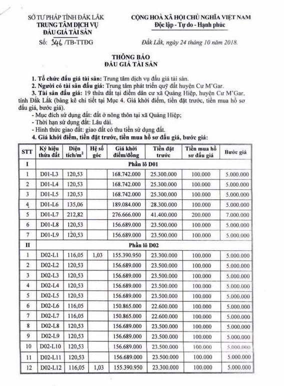 Ngày 22/11/2018, đấu giá quyền sử dụng đất tại huyện Cư M'Gar, tỉnh Đắk Lắk - ảnh 1