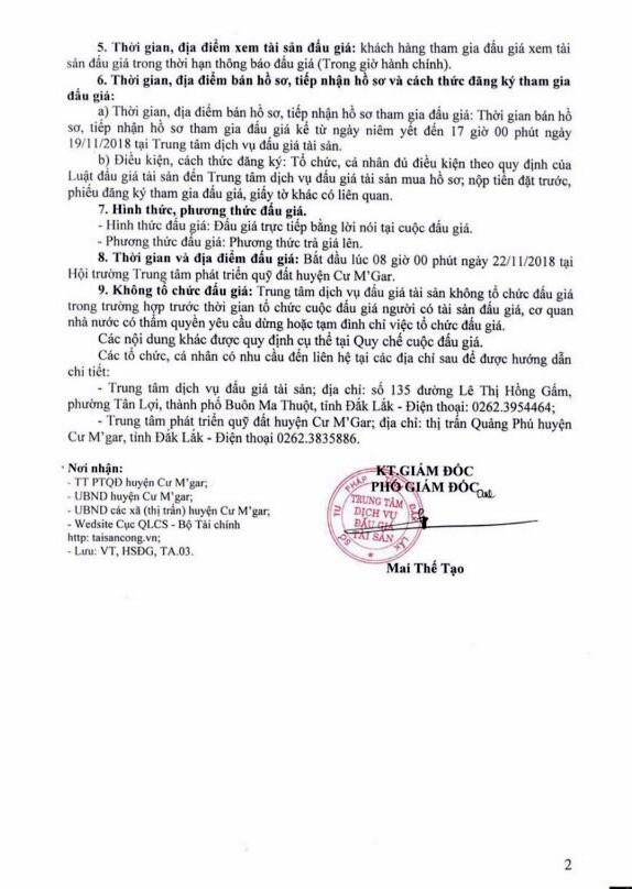 Ngày 22/11/2018, đấu giá quyền sử dụng đất tại huyện Cư M'Gar, tỉnh Đắk Lắk - ảnh 2