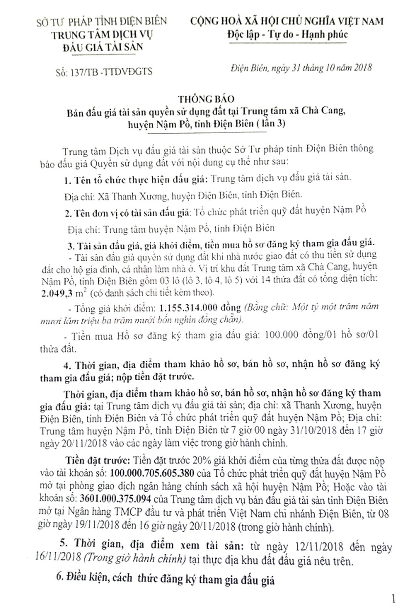 Ngày 22/11/2018, đấu giá quyền sử dụng đất tại huyện Nậm Pồ, tỉnh Điện Biên - ảnh 1