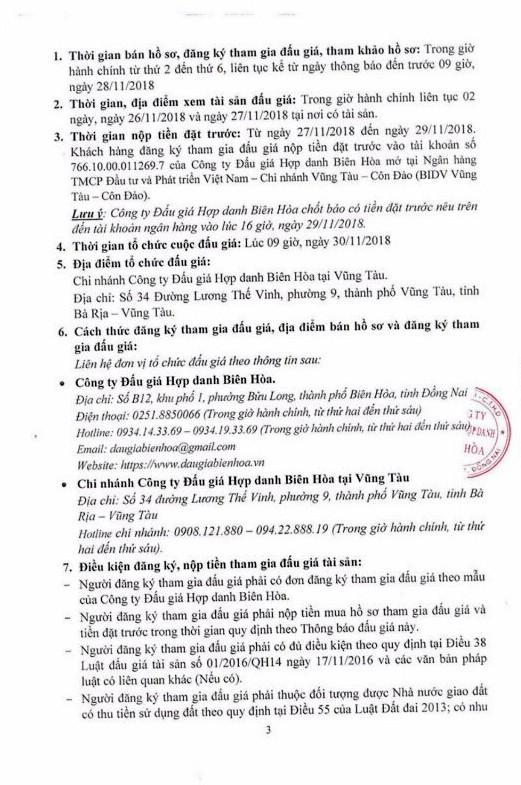 Ngày 30/11/2018, đấu giá quyền sử dụng đất tại huyện Châu Đức, tỉnh Bà Rịa – Vũng Tàu - ảnh 3