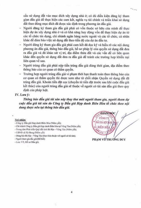 Ngày 30/11/2018, đấu giá quyền sử dụng đất tại huyện Châu Đức, tỉnh Bà Rịa – Vũng Tàu - ảnh 4