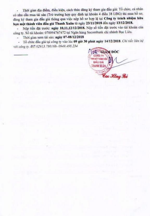 Ngày 14/12/2018, đấu giá quyền sử dụng đất tại huyện Đông Hải, tỉnh Bạc Liêu - ảnh 2