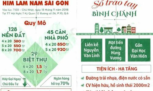 Tờ rơi của các đơn vị môi giới mượn danh Công ty Him Lam để bán dự án.