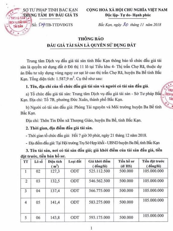 Ngày 21/12/2018, đấu giá quyền sử dụng đất tại huyện Ba Bể, tỉnh Bắc Kạn - ảnh 1