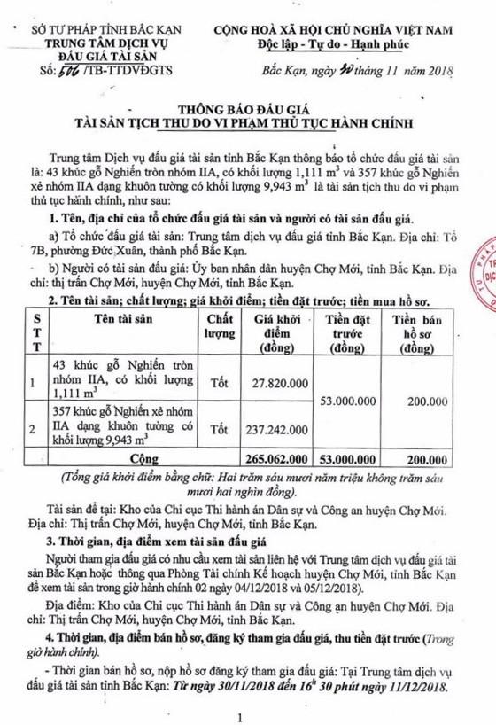 Ngày 14/12/2018, đấu giá gỗ nghiến tròn, xẻ tại tỉnh Bắc Kạn - ảnh 1