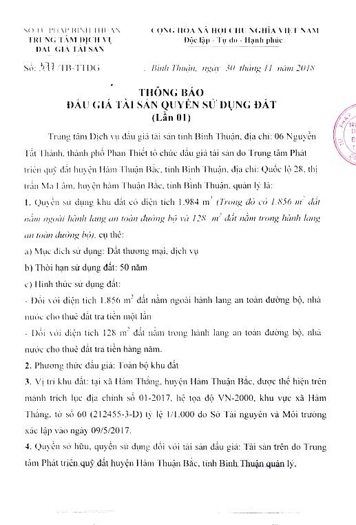 Ngày 24/12/2018, đấu giá quyền sử dụng 1.984 m2 đất tại huyện Hàm Thuận Bắc, tỉnh Bình Thuận - ảnh 1