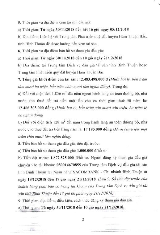 Ngày 24/12/2018, đấu giá quyền sử dụng 1.984 m2 đất tại huyện Hàm Thuận Bắc, tỉnh Bình Thuận - ảnh 2