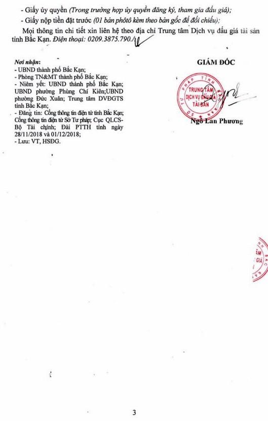 Ngày 20/12/2018, đấu giá quyền sử dụng đất tại thành phố Bắc Kạn, tỉnh Bắc Kạn - ảnh 3