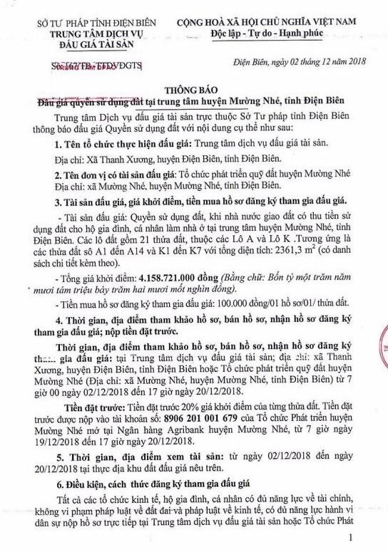 Ngày 22/12/2018, đấu giá quyền sử dụng đất tại huyện Mường Nhé, tỉnh Điện Biên - ảnh 1