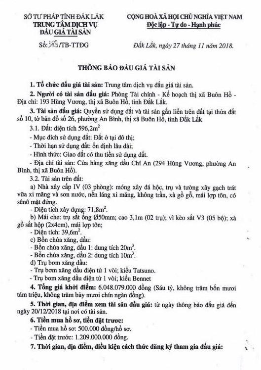 Ngày 24/12/2018, đấu giá quyền sử dụng đất và tài sản gắn liền với đất tại thị xã Buôn Hồ, tỉnh Đắk Lắk - ảnh 1