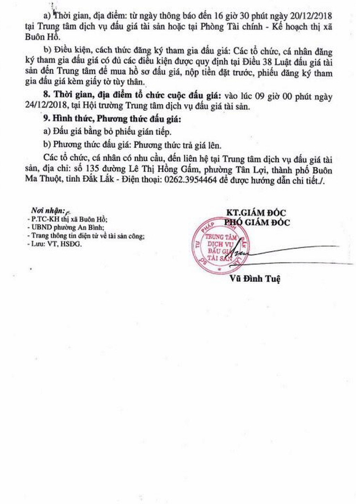 Ngày 24/12/2018, đấu giá quyền sử dụng đất và tài sản gắn liền với đất tại thị xã Buôn Hồ, tỉnh Đắk Lắk - ảnh 2