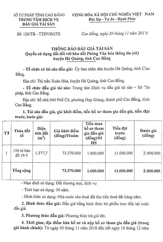 Ngày 27/12/2018, đấu giá quyền sử dụng đất tại huyện Hà Quảng, tỉnh Cao Bằng - ảnh 1