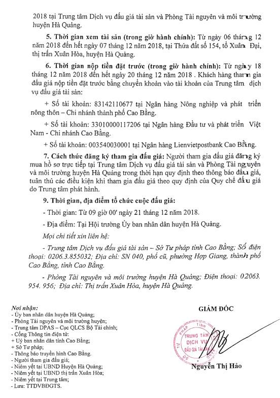 Ngày 27/12/2018, đấu giá quyền sử dụng đất tại huyện Hà Quảng, tỉnh Cao Bằng - ảnh 2