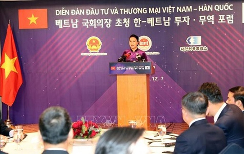 Chủ tịch Quốc hội Nguyễn Thị Kim Ngân phát biểu tại Diễn đàn - Ảnh: TTXVN