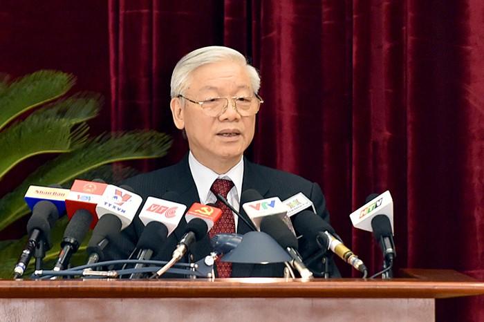 Tổng Bí thư Nguyễn Phú Trọng phát biểu bế mạc Hội nghị Trung ương 14. Ảnh: Nhật Bắc