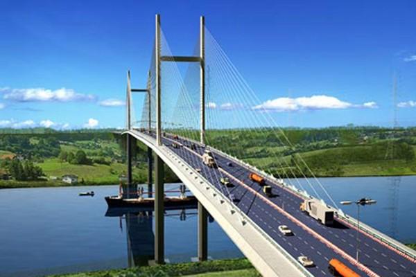 Cầu Cát Lái sẽ là loại cầu dây văng với tĩnh không 55 m. Ảnh minh họa
