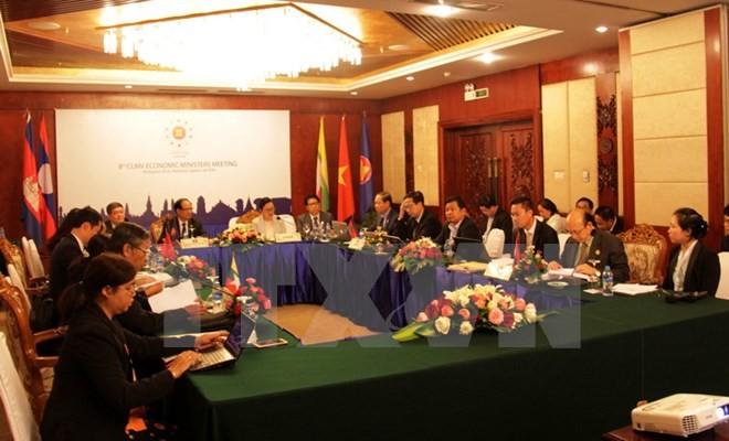 Quang cảnh Hội nghị Bộ trưởng kinh tế các nước CLMV tại Lào. (Nguồn: Phạm Kiên/TTXVN)