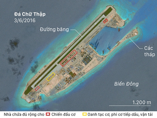 Ảnh chụp đá Chữ Thập từ vệ tinh ngày 3/6. Ảnh: CSIS.