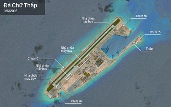 Nhà chứa máy bay và các cấu trúc lạ Trung Quốc xây dựng trên đá Chữ Thập của Việt Nam. Ảnh:CSIS