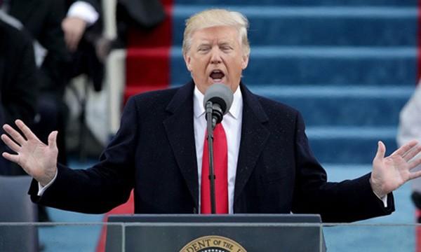 Ông Donald Trump phát biểu trong lễ nhậm chức tổng thống Mỹ hôm 20/1. Ảnh:AFP