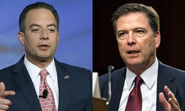 Chánh văn phòng Nhà Trắng Reince Priebus (trái) và Giám đốc Cục Điều tra Liên bang (FBI) James Comey. Ảnh:Politico/The Hill.