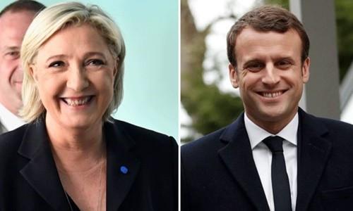 Bà Marine Le Pen và ông Emmanuel Macron. Ảnh:BBC