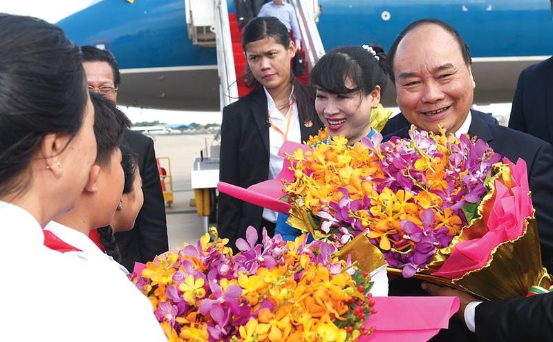 Chuyến thăm thể hiện sự coi trọng quan hệ láng giềng hữu nghị, hợp tác toàn diện Việt Nam – Campuchia. Ảnh: Quang Hiếu