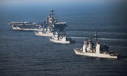 Nhóm tác chiến tàu sân bay Mỹ USS Carl Vinson. Ảnh:Hải quân Mỹ.