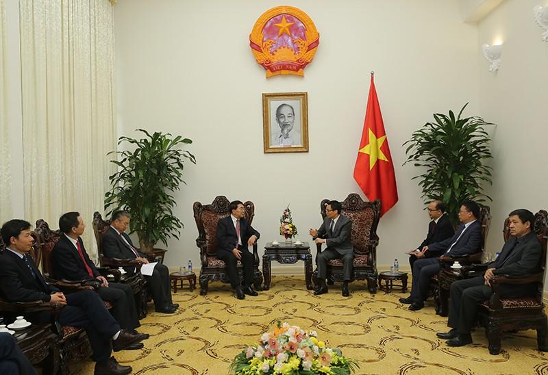 Phó Thủ tướng Vũ Đức Đam tiếpGS. Bai Chunli, Chủ tịch đương nhiệm Viện Hàn lâm Khoa học thế giới, kiêm Chủ tịch Viện Hàn lâm Khoa học Trung Quốc. Ảnh: VGP/Đình Nam