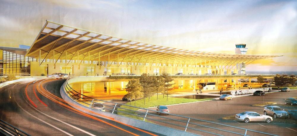 Mô hình Cảng hàng không Quảng Ninh. Ảnh: Lê Tiên