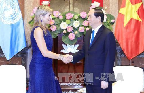 Chủ tịch nước Trần Đại Quang tiếp Hoàng hậu Vương quốc Hà Lan Máxima Zorreguieta Cerruti. Ảnh: TTXVN