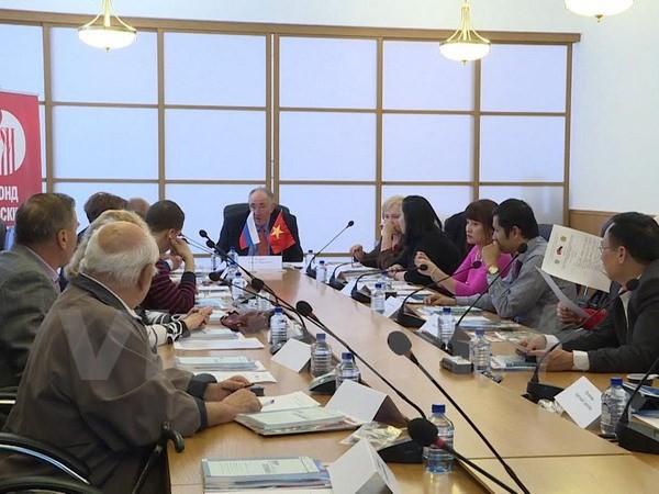 """Hội thảo """"Đối tác chiến lược toàn diện Nga-Việt Nam trong điều kiện toàn cầu hóa. Thành tựu, khó khăn và triển vọng hợp tác trong thế kỷ 21"""". Ảnh: TTXVN"""