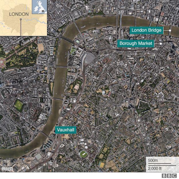Các vụ tấn công xảy ra liên hoàn ở 3 địa điểm khác nhau của London tối 3/6. (Ảnh: BBC)