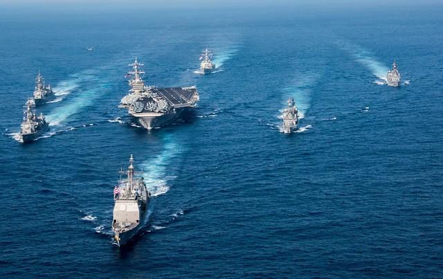 Nhóm tác chiến tàu sân bay USS Carl Vinson của Hải quân Mỹ (Ảnh: The Nation)