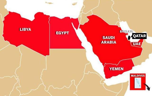 Một loạt quốc gia (màu đỏ) đã tuyên bố cắt quan hệ với Qatar (Ảnh: News.com.au)