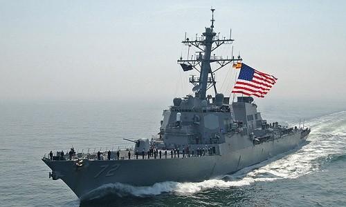 Một tàu chiến Mỹ tại vùng Vịnh. Ảnh:AFP