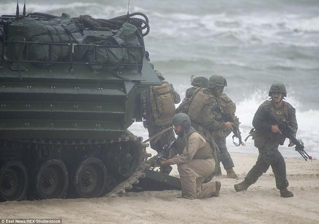 Các binh sĩ tham gia bài tập tấn công đổ bộ trên bờ biển Ba Lan (Ảnh: REX)