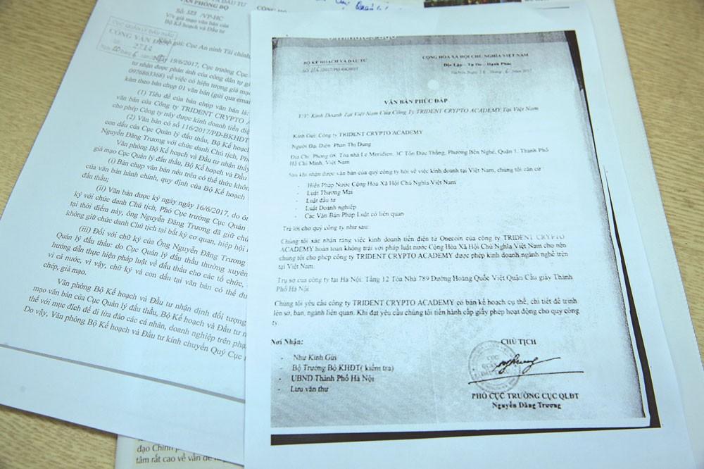 Văn bản giả mạo Bộ Kế hoạch và Đầu tư và mạo danh ông Nguyễn Đăng Trương, Cục trưởng Cục Quản lý đấu thầu. Ảnh: Lê Tiên