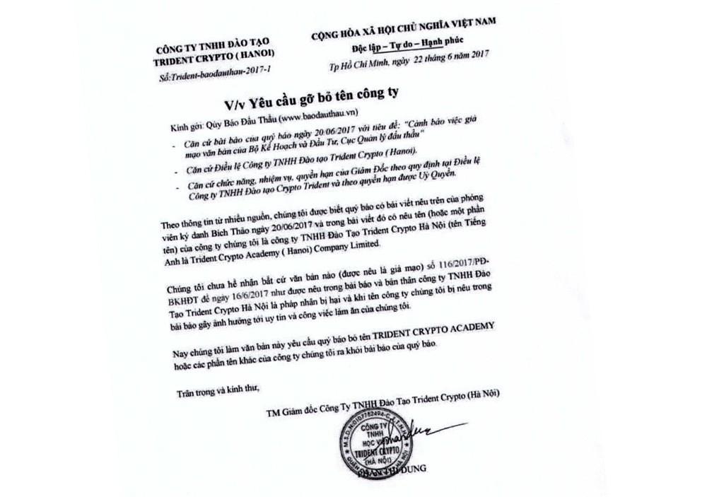 Văn bản của Công ty TNHH Đào tạo Trident Crypto (Hà Nội) gửi tới Báo Đấu thầu.