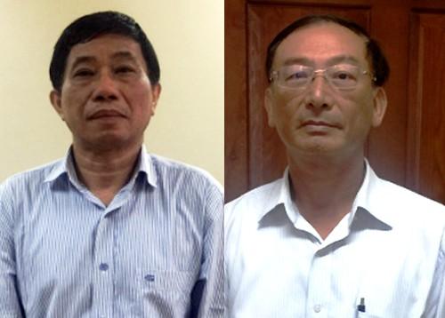 Ông Quỳnh và ông Thắng tại cơ quan điều tra. Ảnh:Bộ Công an.
