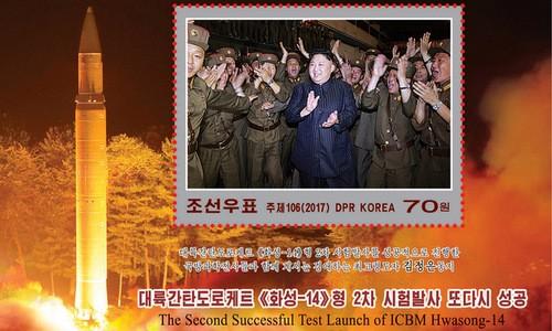 Nhà lãnh đạo Triều Tiên Kim Jong-un xuất hiện trong bộ tem. Ảnh:KCNA.