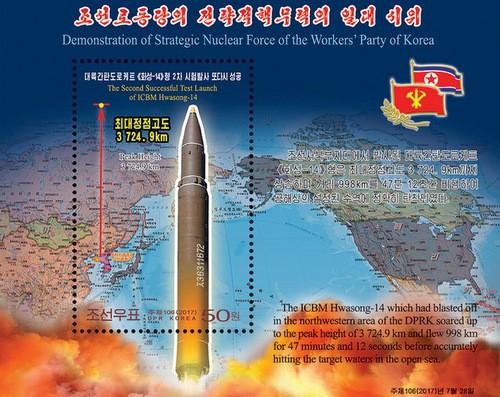 Triều Tiên phát hành tem mừng tên lửa đạn đạo xuyên lục địa - ảnh 1