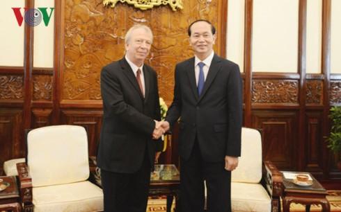 Chủ tịch nước Trần Đại Quang tiếp Đại sứ Bulgaria Ebgueni Stefanov Stoytchev. Ảnh: VOV