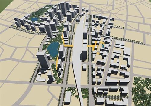 Phối cảnh khu vực ga Hà Nộivà vùng phụ cận theo đồ án được lấy ý kiến.