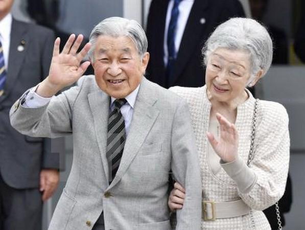 Nhật hoàng Akihito (trái) và Hoàng hậu Michiko tại đảo Yoron, tây nam Nhật Bản ngày 17/11. (Nguồn: Kyodo/TTXVN)