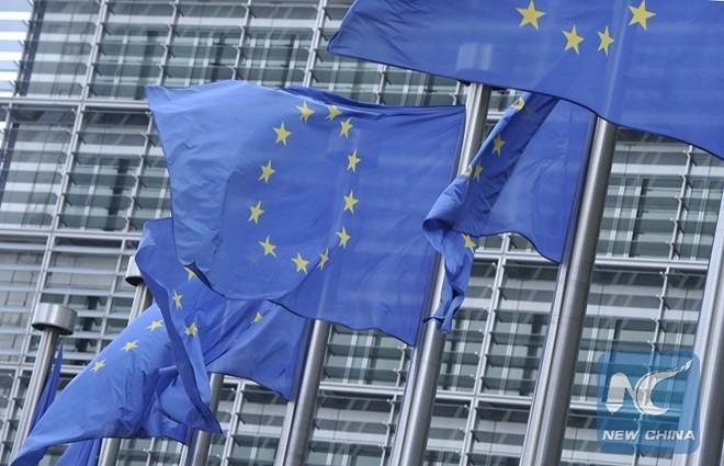 Cờ của Liên minh châu Âu tại trụ sở của EU ở Brussels của Bỉ. (Nguồn: Xinhua)