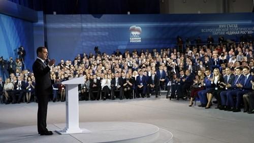 Thủ tướng Dmitry Medvedev phát biểu tại đại hội đảng nước Nga Thống nhất ngày 23/12. Ảnh:Sputnik.