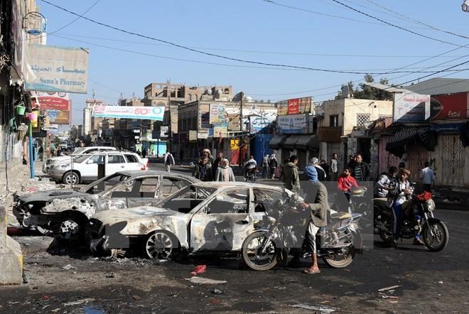 Cảnh đổ nát sau các cuộc giao tranh tại Sanaa ngày 5/12/2017. (Nguồn: THX/TTXVN)