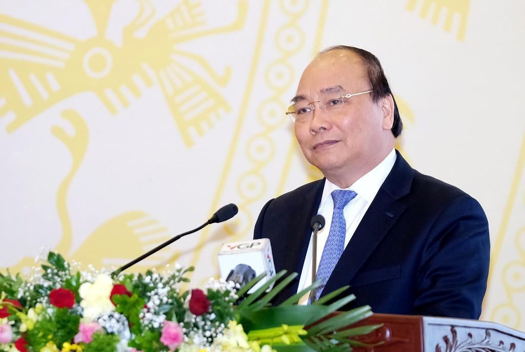 Thủ tướng phát biểu tại Hội nghị tổng kết năm 2017 và triển khai nhiệm vụ 2018 của VPCP. Ảnh: VGP/Quang Hiếu